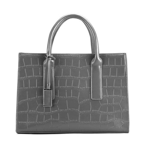 <bold>Tote / Shoulder Bag <br>Vegan-Leather Handbag Gray - strapsandbrass.com