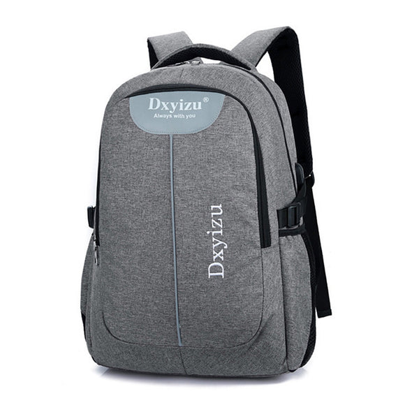 Backpack USB Charging <br> Canvas Backpack Gray - strapsandbrass.com