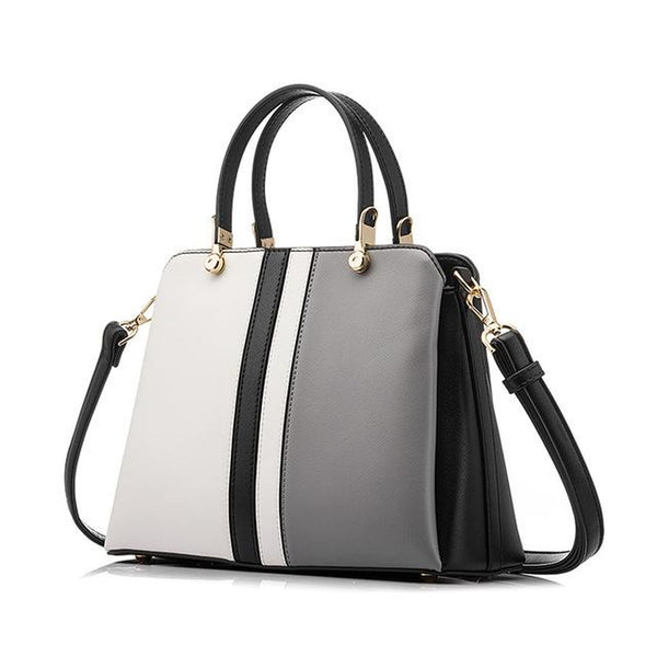 <bold>Top-Handle / Crossbody Bag <br>Vegan-Leather Handbag Gray - strapsandbrass.com