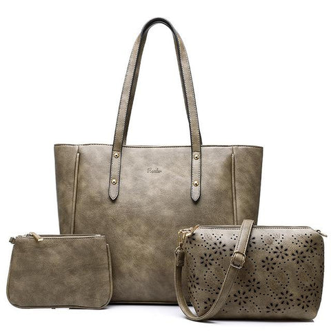 <bold>Tote Crossbody & Purse Set <br>Vegan-Leather Handbag Gray - strapsandbrass.com
