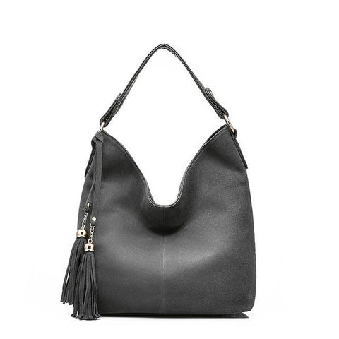 <bold>Hobo / Tote Bag <br>Vegan-Leather Handbag Gray - strapsandbrass.com