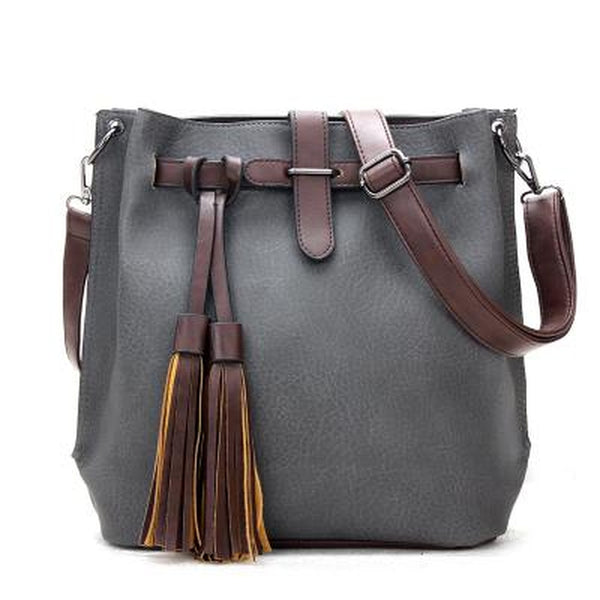 <bold>Bucket / Tote Bag <br>Vegan-Leather Handbag Gray - strapsandbrass.com