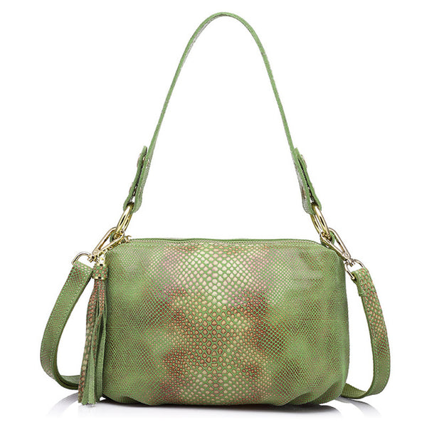 <bold>Crossbody / Shoulder Bag <br>Genuine-Leather Handbag Green - strapsandbrass.com
