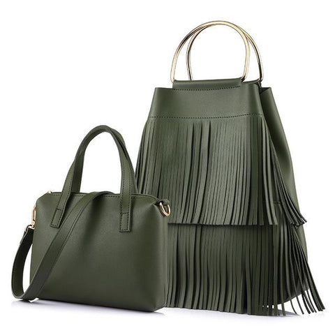 <bold>Bucket & Crossbody Bag Set <br>Vegan-Leather Handbag Green - strapsandbrass.com