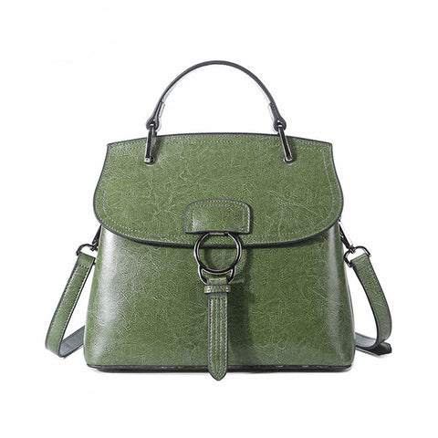 <bold>Top-Handle / Crossbody Bag <br>Genuine-Leather Handbag Green - strapsandbrass.com