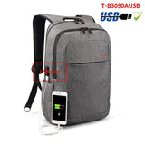Backpack USB Charging & Anti-Theft <br> Oxford Backpack Grey 3090USB - strapsandbrass.com