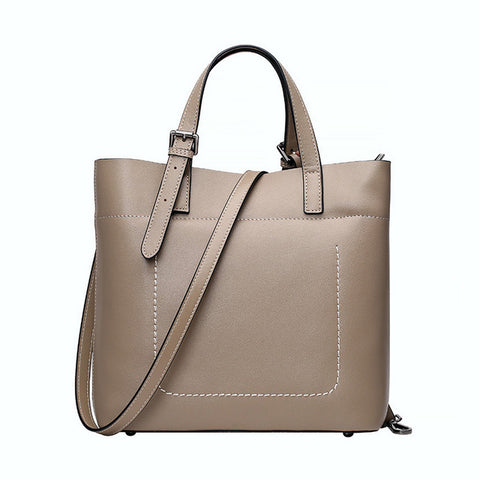 <bold>Bucket / Crossbody Bag <br>Genuine-Leather Handbag Khaki - strapsandbrass.com