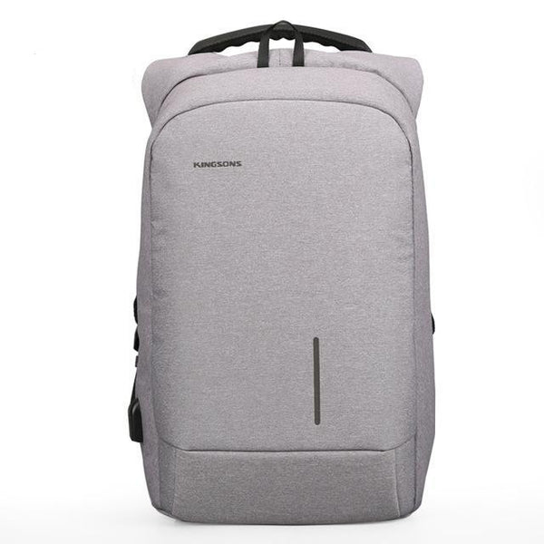 Backpack USB Charging & Anti-Theft <br> Nylon Backpack Light Grey / 15 Inches - strapsandbrass.com