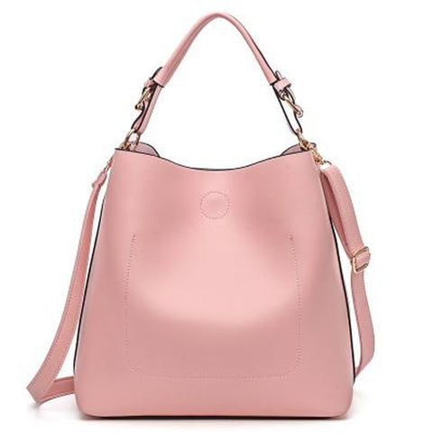<bold>Bucket / Tote Bag  <br>Vegan-Leather Handbag Pink - strapsandbrass.com