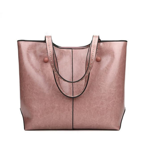 <bold>Tote  / Shoulder Bag  <br>Vegan-Leather Handbag Pink - strapsandbrass.com