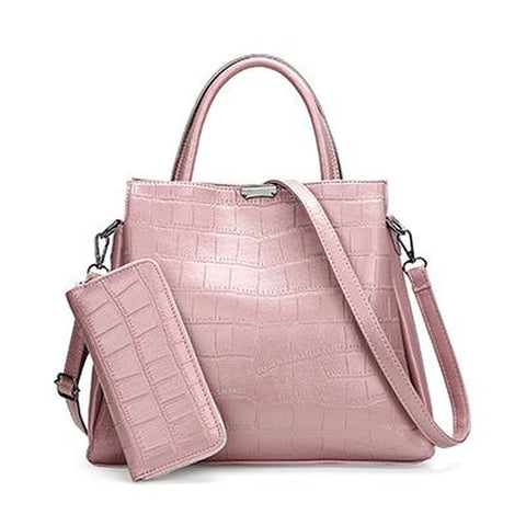 <bold>Tote Bag & Clutch Set <br>Vegan-Leather Handbag Pink - strapsandbrass.com
