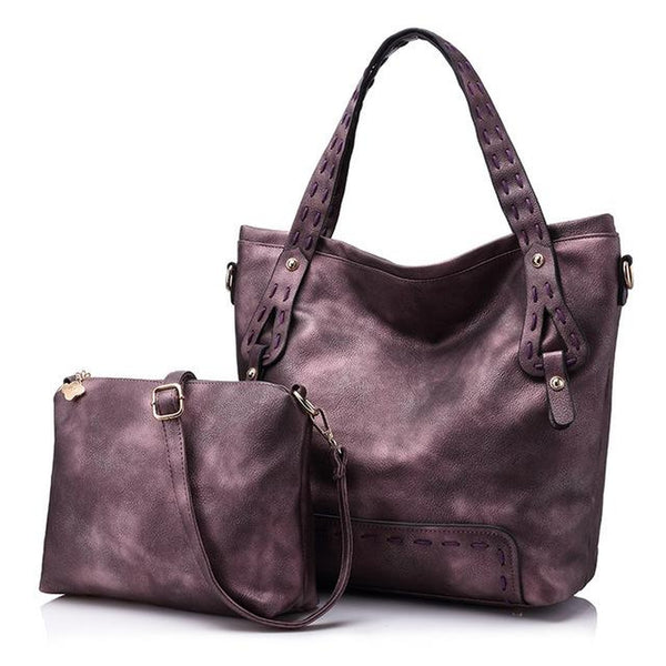 <bold>Tote & Crossbody Bag Set <br>Vegan-Leather Handbag Purple - strapsandbrass.com