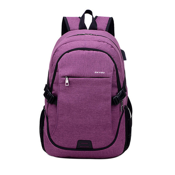 Backpack USB Charging <br> Canvas Backpack Purple - strapsandbrass.com