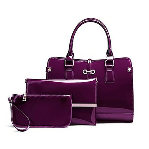 <bold>Tote Crossbody Bag & Purse Set <br>Vegan-Leather Handbag Purple - strapsandbrass.com