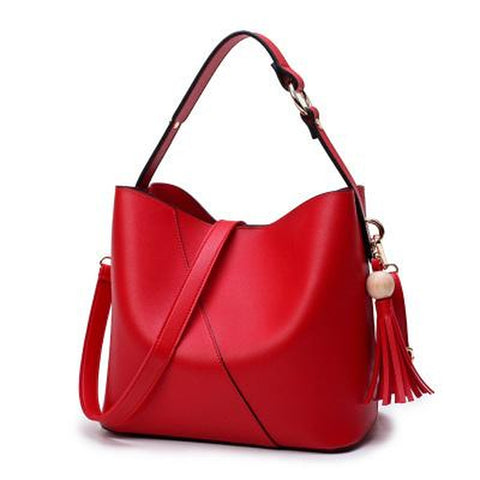 <bold>Bucket / Tote Bag  <br>Vegan-Leather Handbag Red - strapsandbrass.com
