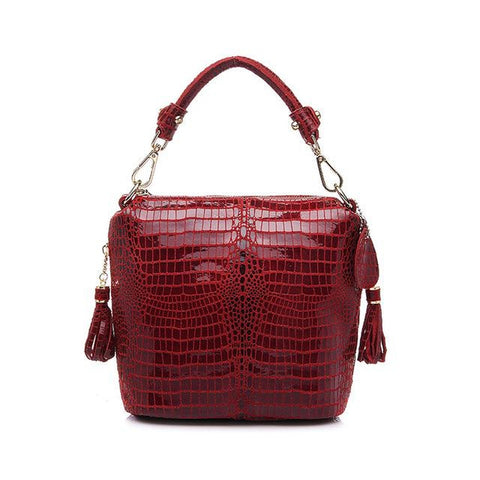 <bold>Bucket / Tote Bag <br>Genuine-Leather Handbag Red - strapsandbrass.com