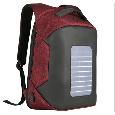 Copy of Backpack USB Charging & Solar <br> Nylon Backpack Red - strapsandbrass.com