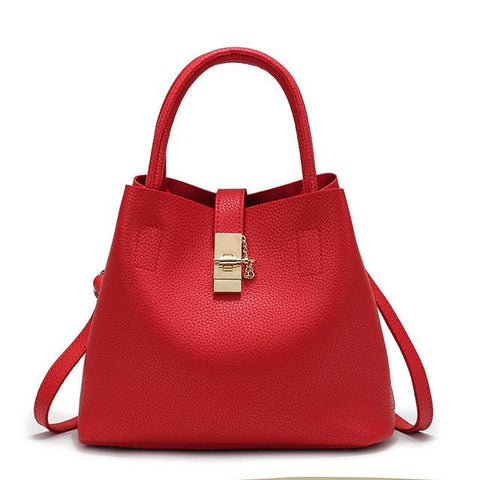 <bold>Tote / Bucket Bag <br>Vegan-Leather Handbag Red - strapsandbrass.com