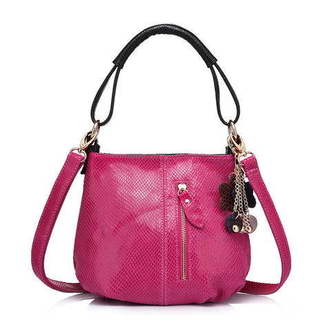 <bold>Bucket  / Tote Bag <br>Genuine-Leather Handbag Rose Red - strapsandbrass.com