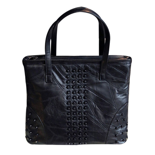 <bold>Tote / Shoulder Bag <br>Genuine-Leather Handbag Style 1 - strapsandbrass.com