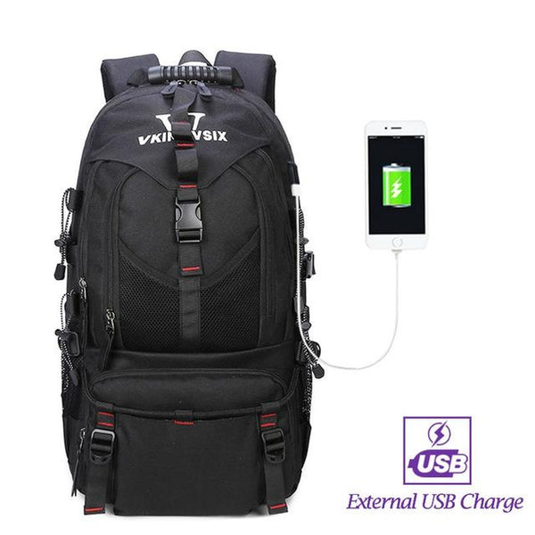 Backpack USB Charging <br> Oxford Backpack V61042blackwithUSB - strapsandbrass.com