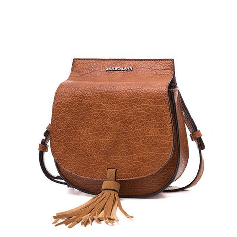 <bold>Shell / Crossbody Bag  <br>Vegan-Leather Handbag YellowBrown - strapsandbrass.com