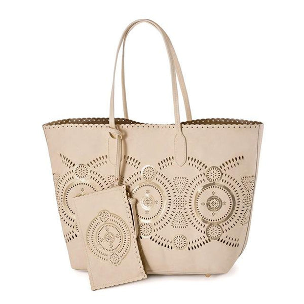 <bold>Tote / Shopping Bag  <br>Vegan-Leather Handbag Beige - strapsandbrass.com