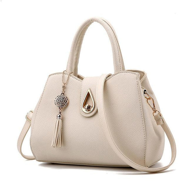 <bold>Top-Handle / Shoulder Bag <br>Vegan-Leather Handbag Beige - strapsandbrass.com