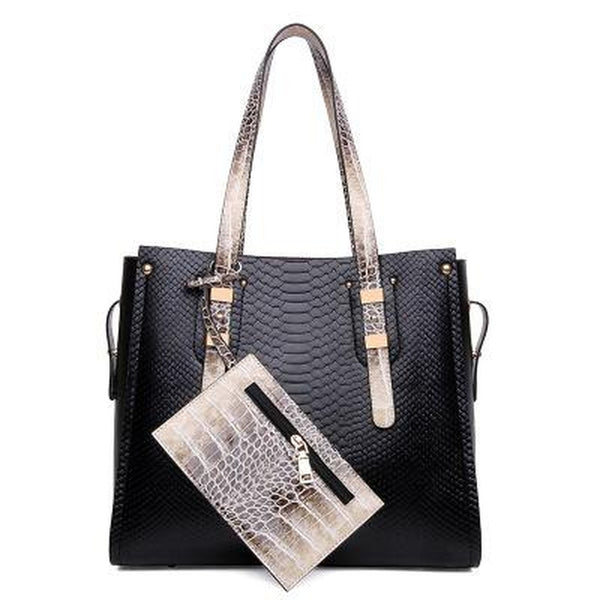 Tote / Shoulder Bag  <br>Vegan-Leather Handbag Black - strapsandbrass.com