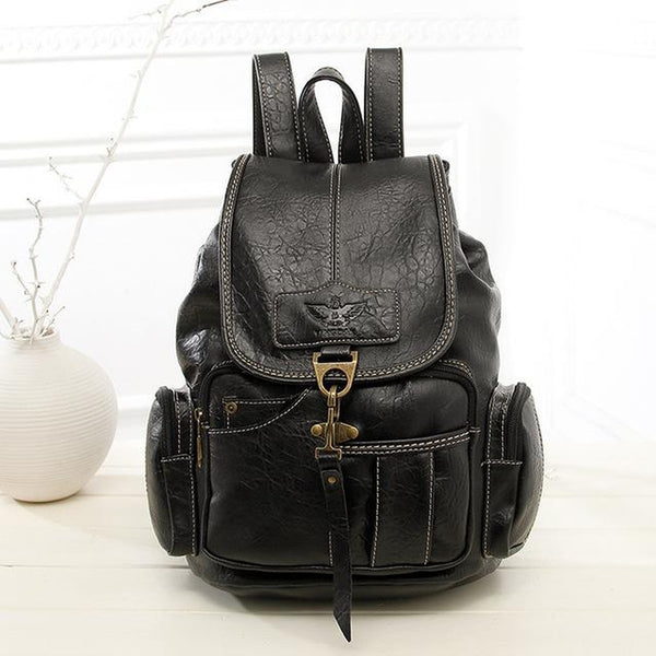 <bold>Fashion Backpack  <br>Vegan-Leather Fashion Backpack Black - strapsandbrass.com