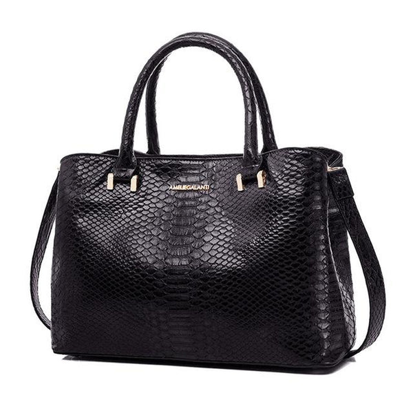 <bold>Top-Handle / Tote Bag <br>Vegan-Leather Handbag Black - strapsandbrass.com