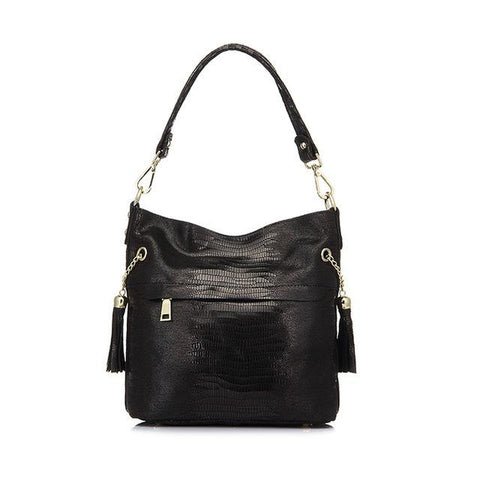 <bold>Bucket / Crossbody Bag <br>Genuine-Leather Handbag Black - strapsandbrass.com