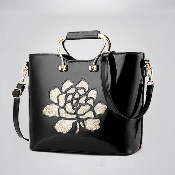<bold>Top-Handle / Shoulder Bag  <br>Genuine-Leather Handbag Black - strapsandbrass.com