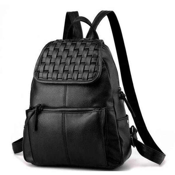 <bold>Casual Backpack <br>Vegan-Leather Fashion Backpack Black backpack - strapsandbrass.com