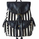 <bold>Casual Day Backpack  <br>Canvas Fashion Backpack Black shu striped - strapsandbrass.com
