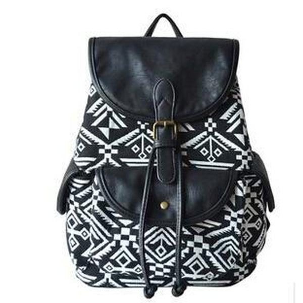 <bold>Casual Day Backpack  <br>Canvas Fashion Backpack Black tuteng - strapsandbrass.com