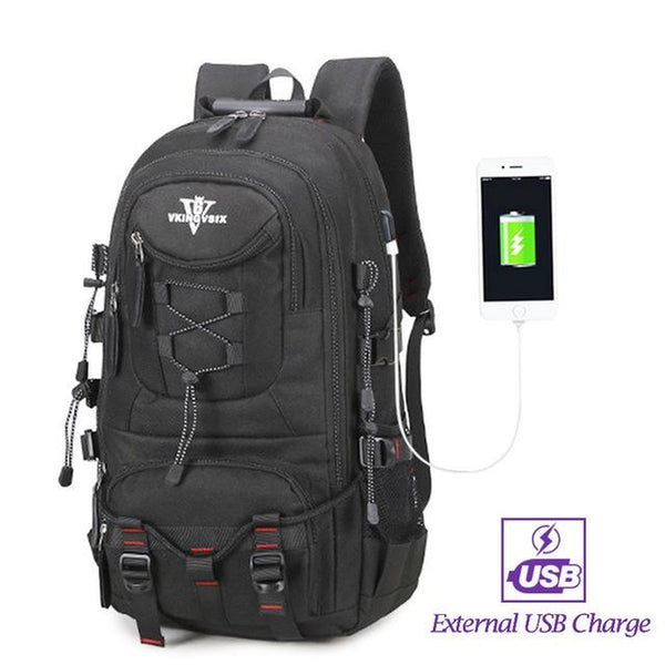 Backpack USB Charging & Water Resistant <br> Oxford Backpack black with USB - strapsandbrass.com