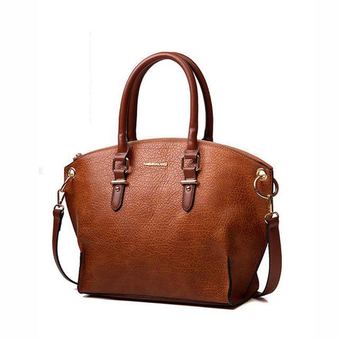 <bold>Tote / Shoulder Bag  <br>Vegan-Leather Handbag Brown - strapsandbrass.com