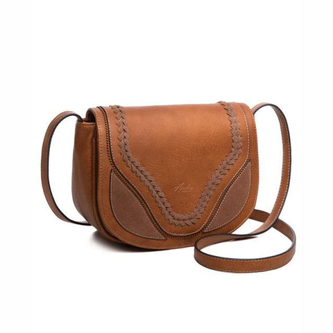 <bold>Shell  / Crossbody Bag  <br>Vegan-Leather Handbag Brown - strapsandbrass.com