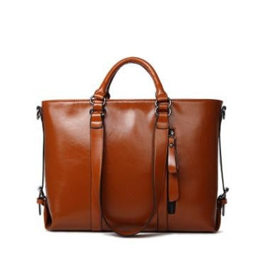 Tote / Shoulder Bag  <br>Genuine-Leather Handbag Brown - strapsandbrass.com