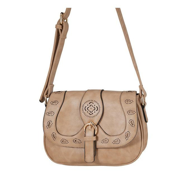 <bold>Crossbody / Shoulder Bag <br>Vegan-Leather Handbag camel - strapsandbrass.com