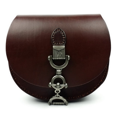 Shell / Crossbody Bag  <br>Genuine-Leather Handbag chocolate - strapsandbrass.com