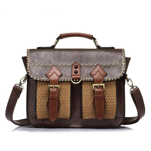 <bold>Messenger / Crossbody Bag <br>Vegan-Leather Handbag Coffee - strapsandbrass.com