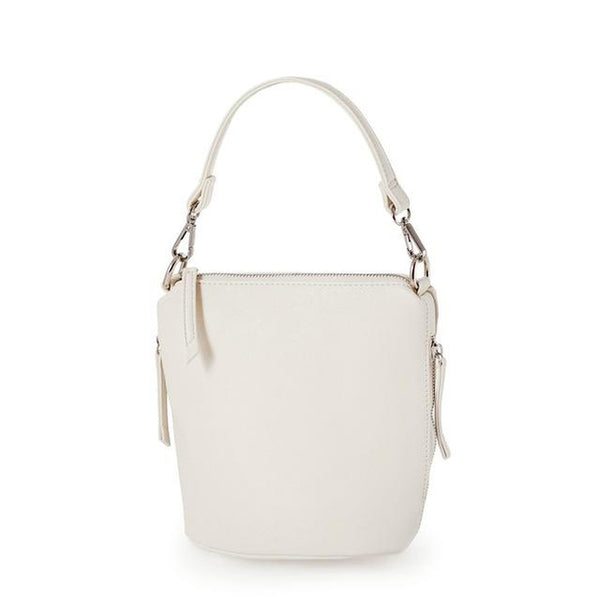 <bold>Bucket / Crossbody Bag <br>Vegan-Leather Handbag Cream - strapsandbrass.com