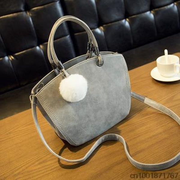 <bold>Messenger / Crossbody Bag  <br>Vegan-Leather Handbag Gray - strapsandbrass.com