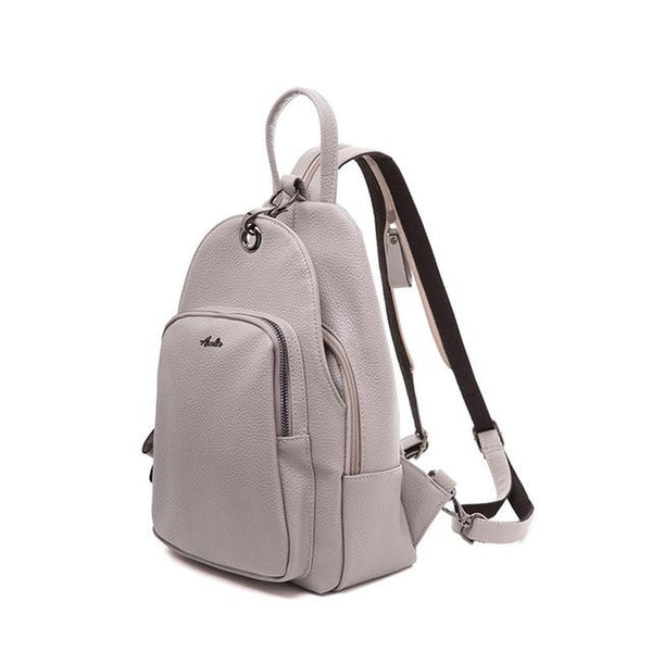 <bold>Casual Day Backpack <br>Vegan-Leather Fashion Backpack Gray - strapsandbrass.com