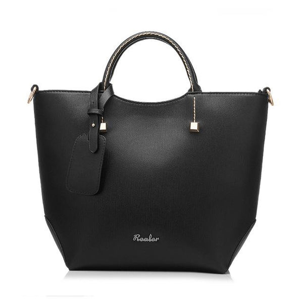 <bold>Tote / Shoulder Bag  <br>Vegan-Leather Handbag new Black - strapsandbrass.com