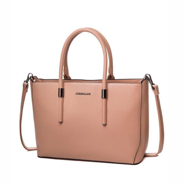 <bold>Tote / Crossbody Bag <br>Vegan-Leather Handbag Pink - strapsandbrass.com