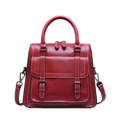 <bold>Top-Handle / Messenger Bag <br>Genuine-Leather Handbag Red - strapsandbrass.com