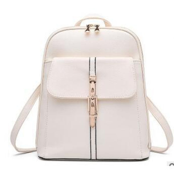 <bold>Fashion Backpack<bold> <br>Vegan-Leather Fashion Backpack White - strapsandbrass.com